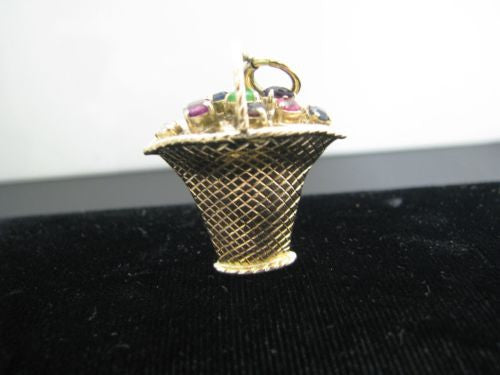 Vintage 14k Yellow Gold Basket full of Gems