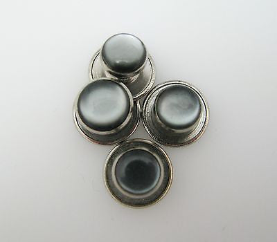 Set of (4) Handsome Dark Gray Shirt Studs in Silver Tone