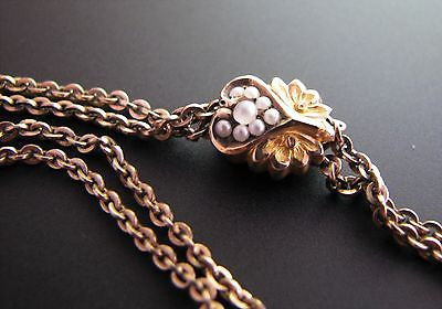 Vintage Gold Filled Watch Chain with a 10k Gold Slide with Seed Pearls