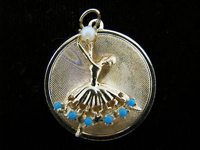 Beautiful 14k Yellow Gold Ballerina Pendant Holding a Pearl with Turquoise Skirt