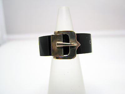 Unique Vintage Black Onyx Scarf Ring or Slide with 14k Yellow Gold Buckle