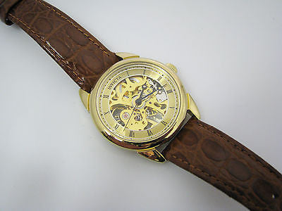 Nice Gold Tone Invicta Skeleton Mechanical Hand Wind Watch