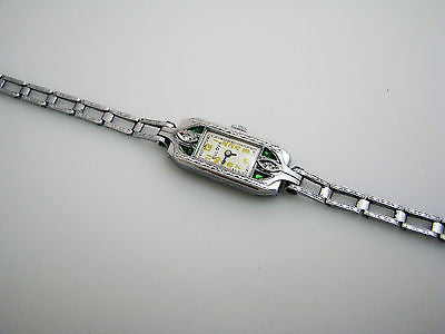 Beautiful 1920's Women's Watch with Diamonds and Emeralds in Stainless Steel