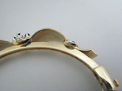 Beautiful Sapphire and Diamond Hinged Bangle Bracelet in 14k Yellow Gold