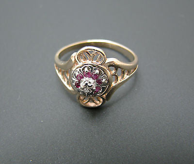 Lovely Vintage Ruby and Diamond Ring Mounted in 10k Yellow Gold