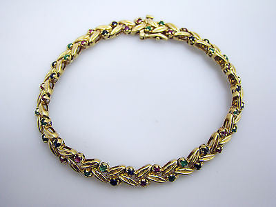 Gorgeous 14k Yellow Gold Gem Stone Link Bracelet, Ruby, Sapphire, & Emerald