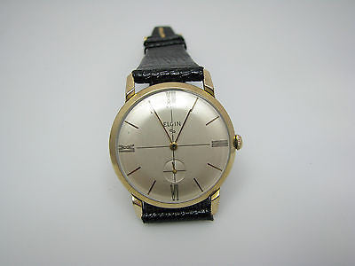 10k RGP Vintage Elgin Watch with Seconds Sub Dial & Leather Band
