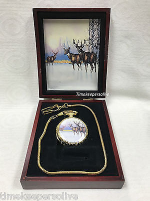 Elegant Retro Style Golden Tone Deer Ornament Pendant Pocket Chain Watch Gift