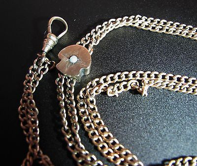Vintage Gold Filled Watch Chain with 10k Gold Slide With Pearl in Center
