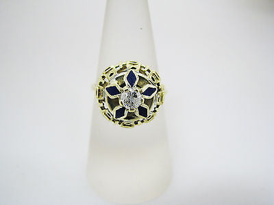 Stunning Unique Vintage 14k Yellow Gold Diamond and Blue Enamel Ring