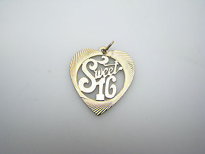 "Nice ""Sweet 16"" Heart shaped Pendant/ Charm in 14k Yellow Gold"