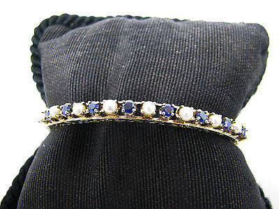 Splendid Sapphire and Pearl Hinged Bangle Bracelet in 14k Yellow Gold