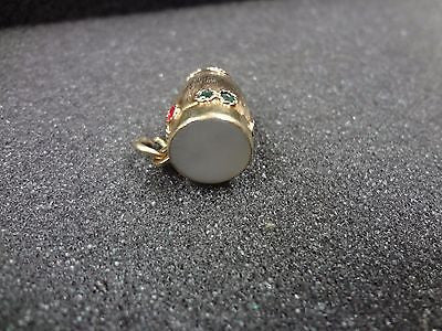 Beautiful 14k Yellow Gold Conga Drum with Mother of Pearl top Pendant