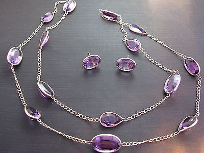 Beautiful 14k Yellow Gold Amethyst Necklace and Earring Set