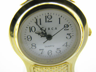 Cute Miniature French Style Mantel Quartz Clock by Circa in a Brass Finish