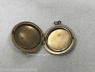 Vintage Adorable Gold Filled Photo Round Locket Floral Heart Charm Pendant