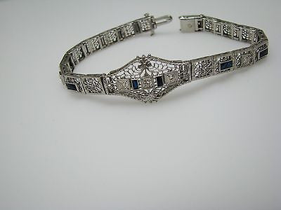 1920's Diamond and Emerald Cut Sapphires Bracelet in 14K White Gold