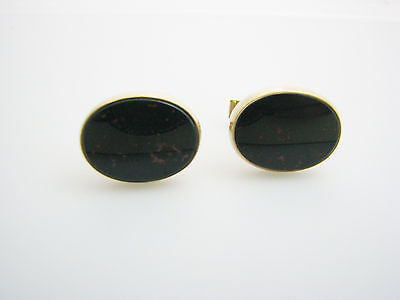 Handsome Vintage Blood Stone Cuff Links in 14k Yellow Gold