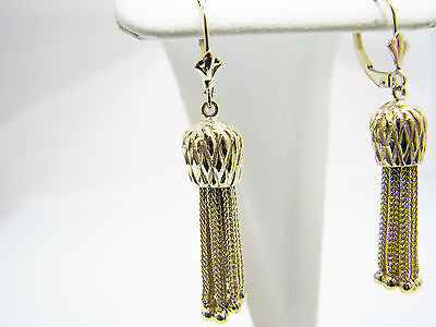 Stunning 14k Yellow Gold Dangle Tassel Earrings