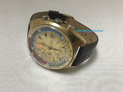 Vintage 1960's Wakmann Automatic Regata Chronograph Day Date Exotic Dial Watch