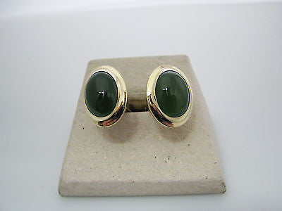 Handsome Vintage Oval Cuff Links with Green Stones in 12k Gold Filled