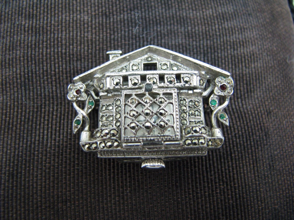 Unique Vintage House Lapel Watch in Sterling Silver with Marcasite