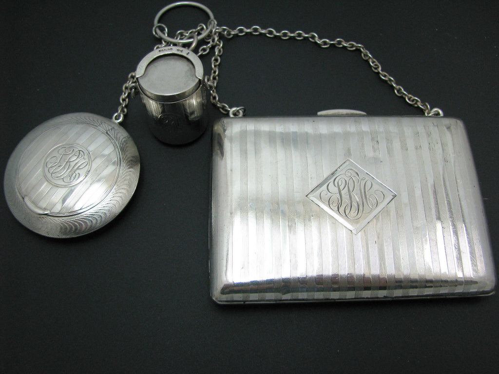 Nice Vintage Sterling Silver Wallet, Coin Holder and Pill/Compact Box With Chain