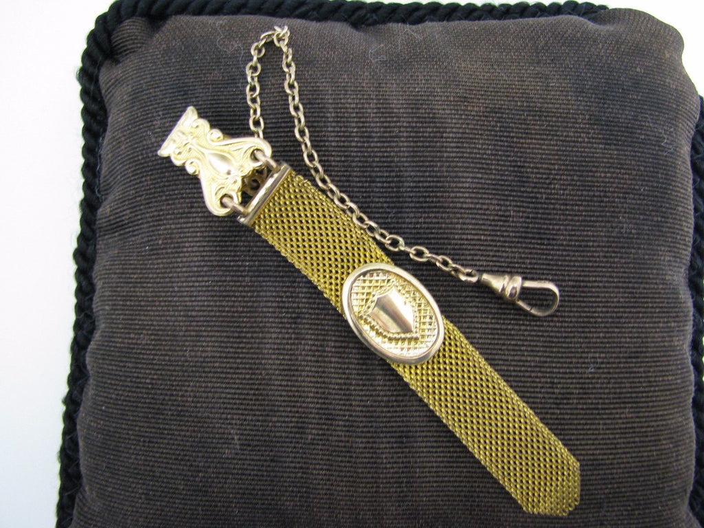Vintage Pocket Watch Chain and Mesh Fob on a Waist Clip