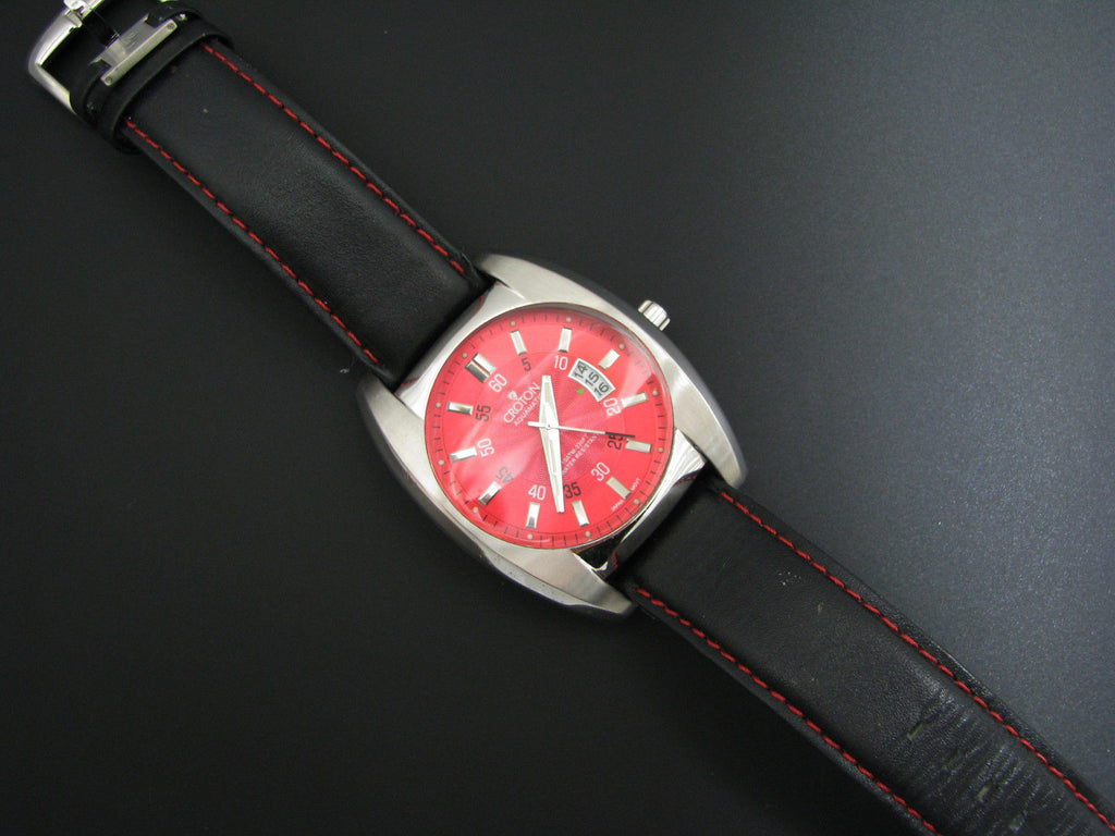 Nice Croton Watch with Date - Quartz with Red Dial