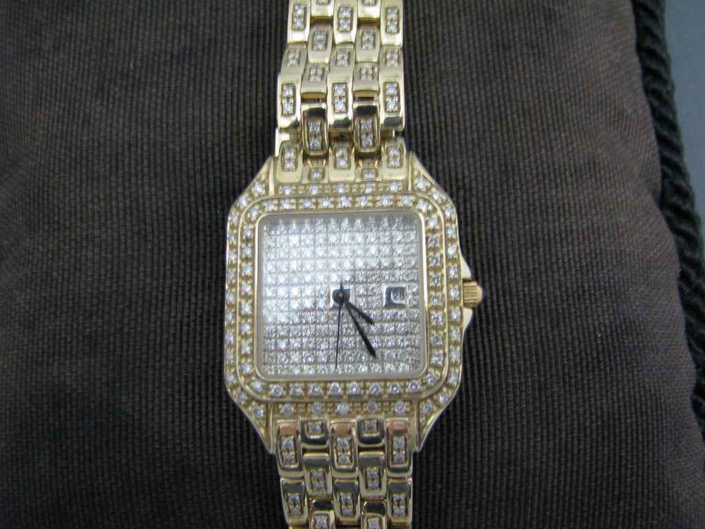 Ladies Diamond 14k Yellow Gold Swiss Made Watch with Date from Italy
