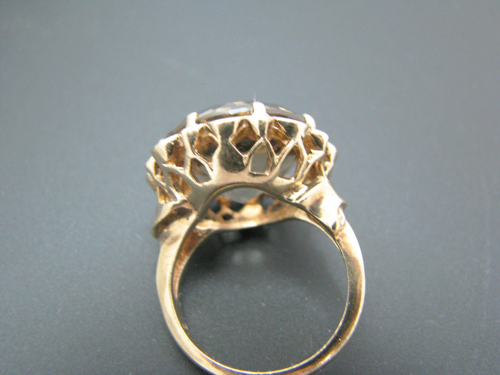 Large Vintage Light Grey Quartz Ring in 10k Yellow Gold Mounting