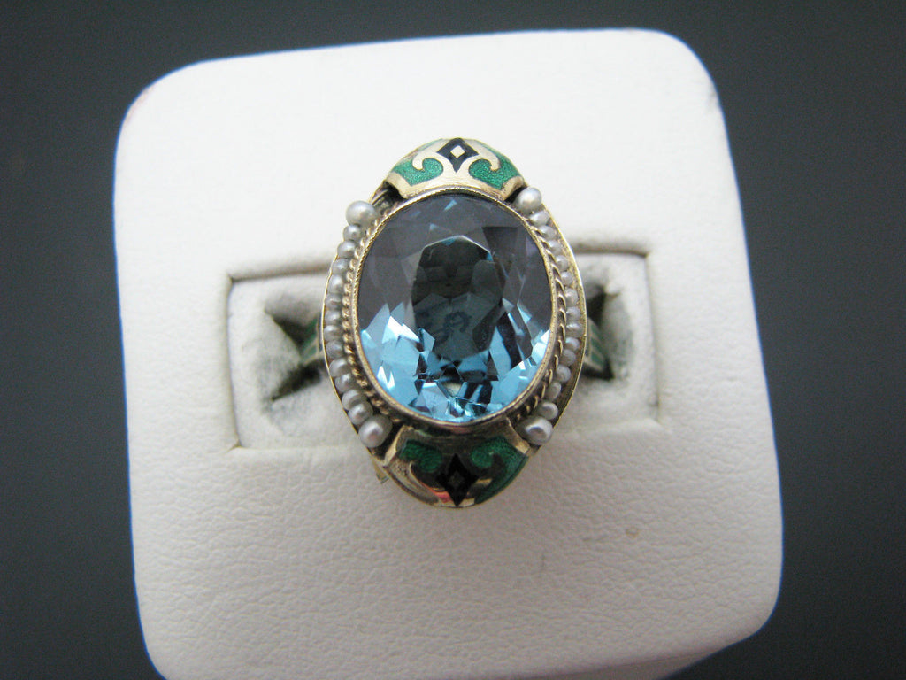 Vintage Aquamarine & Pearl Ring with Enamel in 14k Yellow Gold Mounting