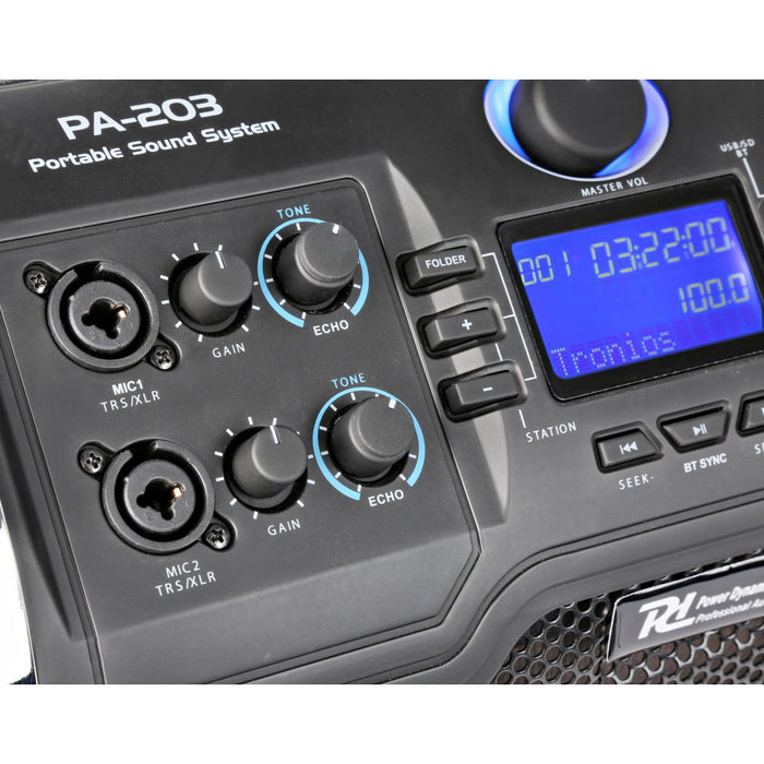 Nešiojama garso sistema Power Dynamics PA203 Portable, SD/USB/MP3/BT-AUTOGARSAS.LT