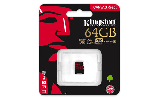 Atminties kortelė KINGSTON 64GB microSDXC Canvas React 100R/80W U3 USH-I V30 A1 Vaizdo registratoriai - radarų detektoriai Kingston AUTOGARSAS.LT