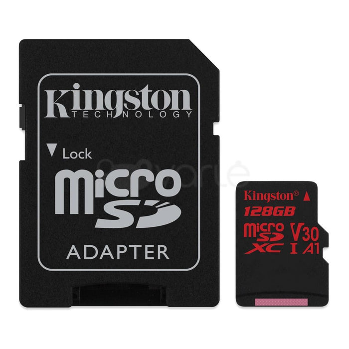 Atminties kortelė KINGSTON 128GB microSDXC Canvas React 100R/80W U3 USH-I V30 A1 Vaizdo registratoriai - radarų detektoriai Kingston AUTOGARSAS.LT