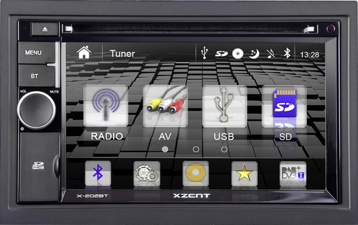 Multimedija automobiliui Xzent X-202BT MK2, 2-DIN, CD/DVD, USB, SD, HDMI, BLUETOOTH Multimedija Xzent AUTOGARSAS.LT