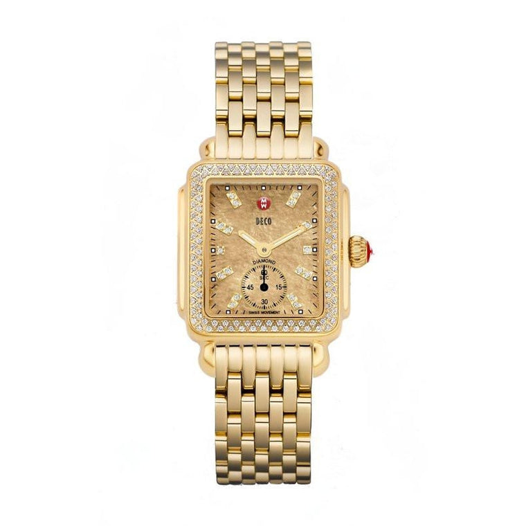 Gold Diamond Dial Deco Watch-Michele-Duncan & Boyd Jewelers
