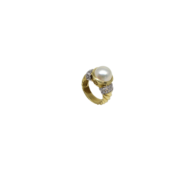 Gold Pearl Ring-David Yurman-Duncan & Boyd Jewelers