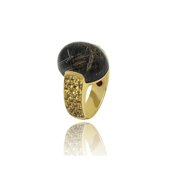 Gold Rutilated Quartz Ring-Roberto Coin-Duncan & Boyd Jewelers
