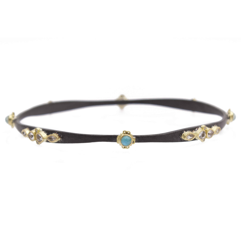 Lacy Bangle Bracelet with Round Blue Turquoise Doublet-Armenta-Duncan & Boyd Jewelers