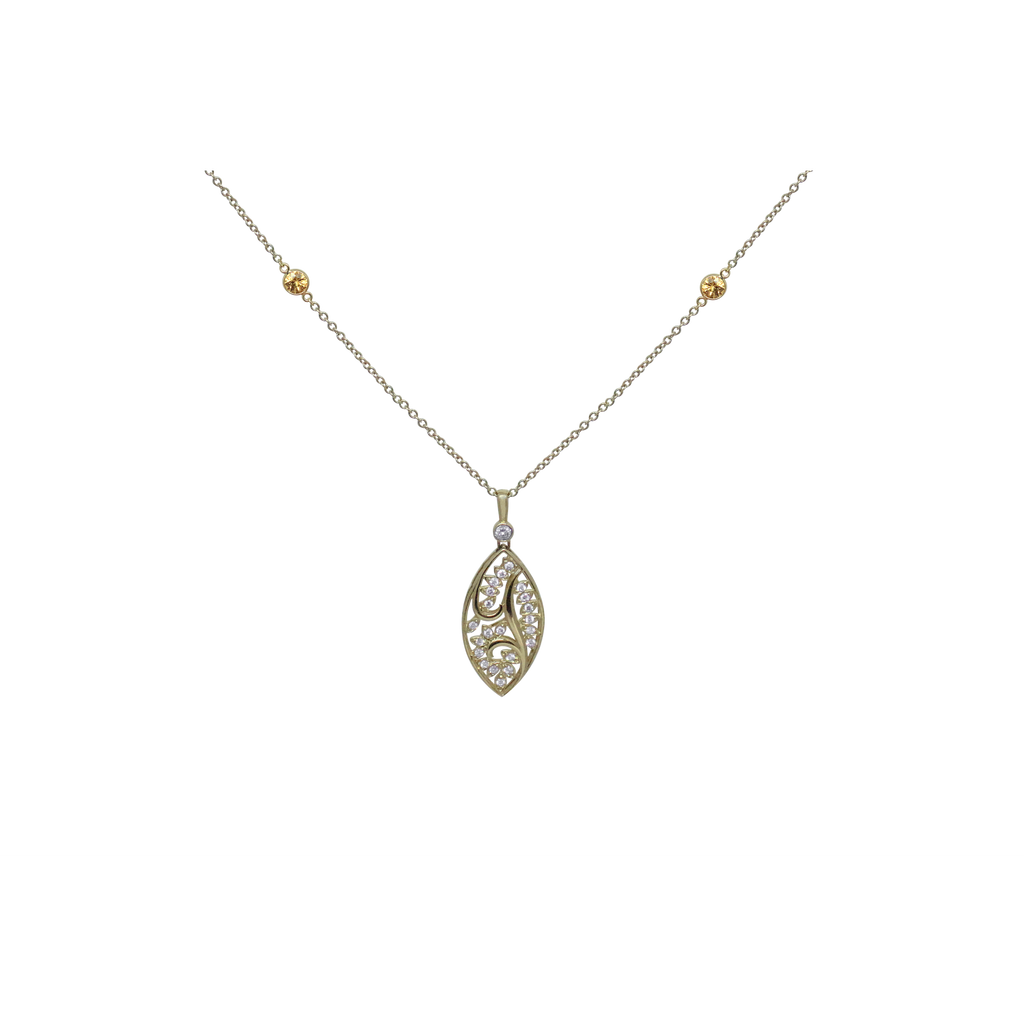 Leaf Pendant Necklace-Duncan & Boyd Jewelers-Duncan & Boyd Jewelers