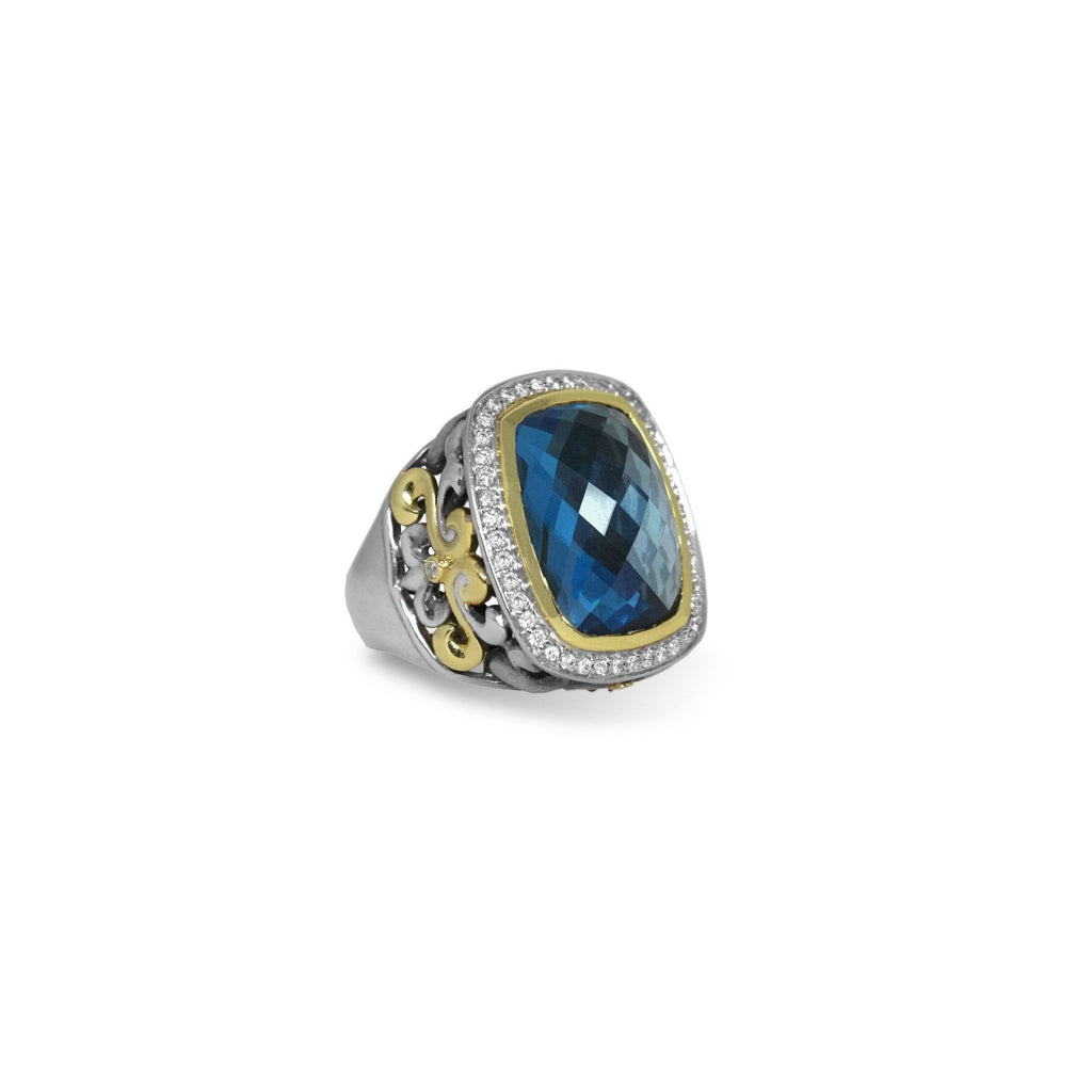 London Blue Two Toned Ring-Charles Krypell-Duncan & Boyd Jewelers