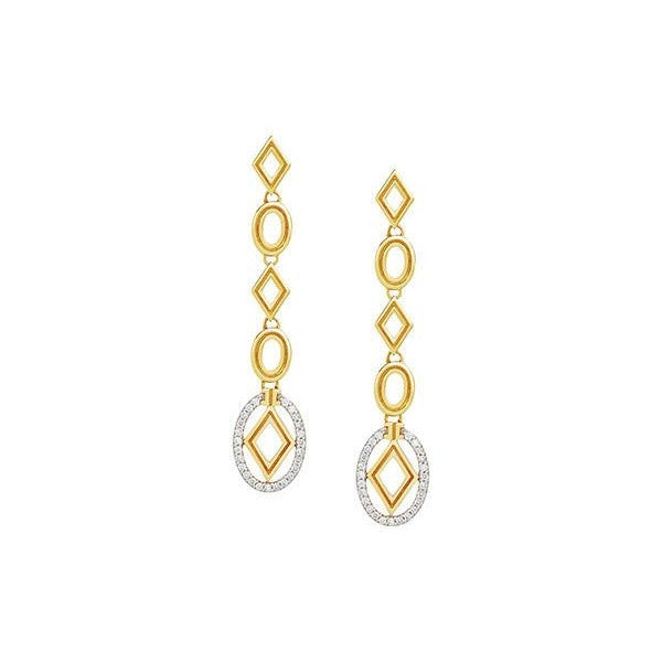 Long Oval and Diamond Drop Earrings-Ivanka Trump-Duncan & Boyd Jewelers