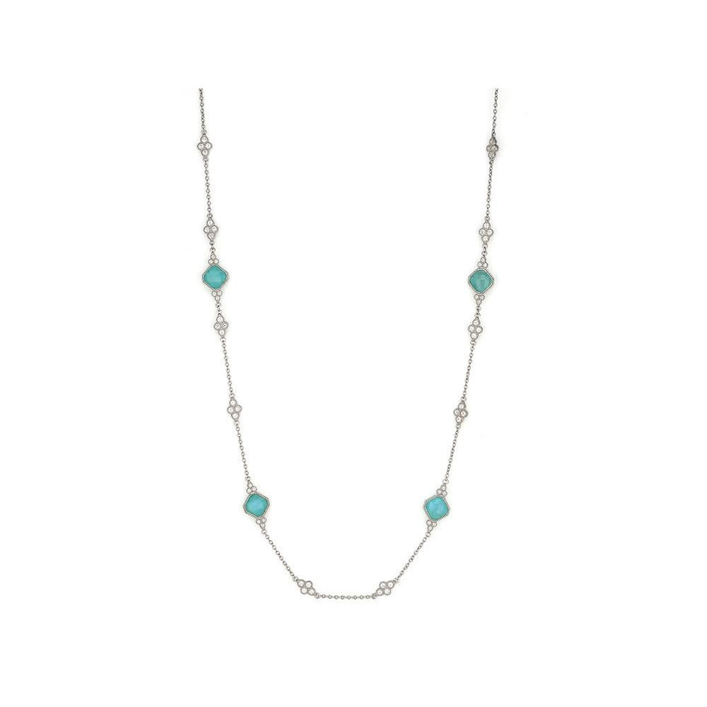 Moroccan Cushion Stone Station Necklace-Jude Frances-Duncan & Boyd Jewelers