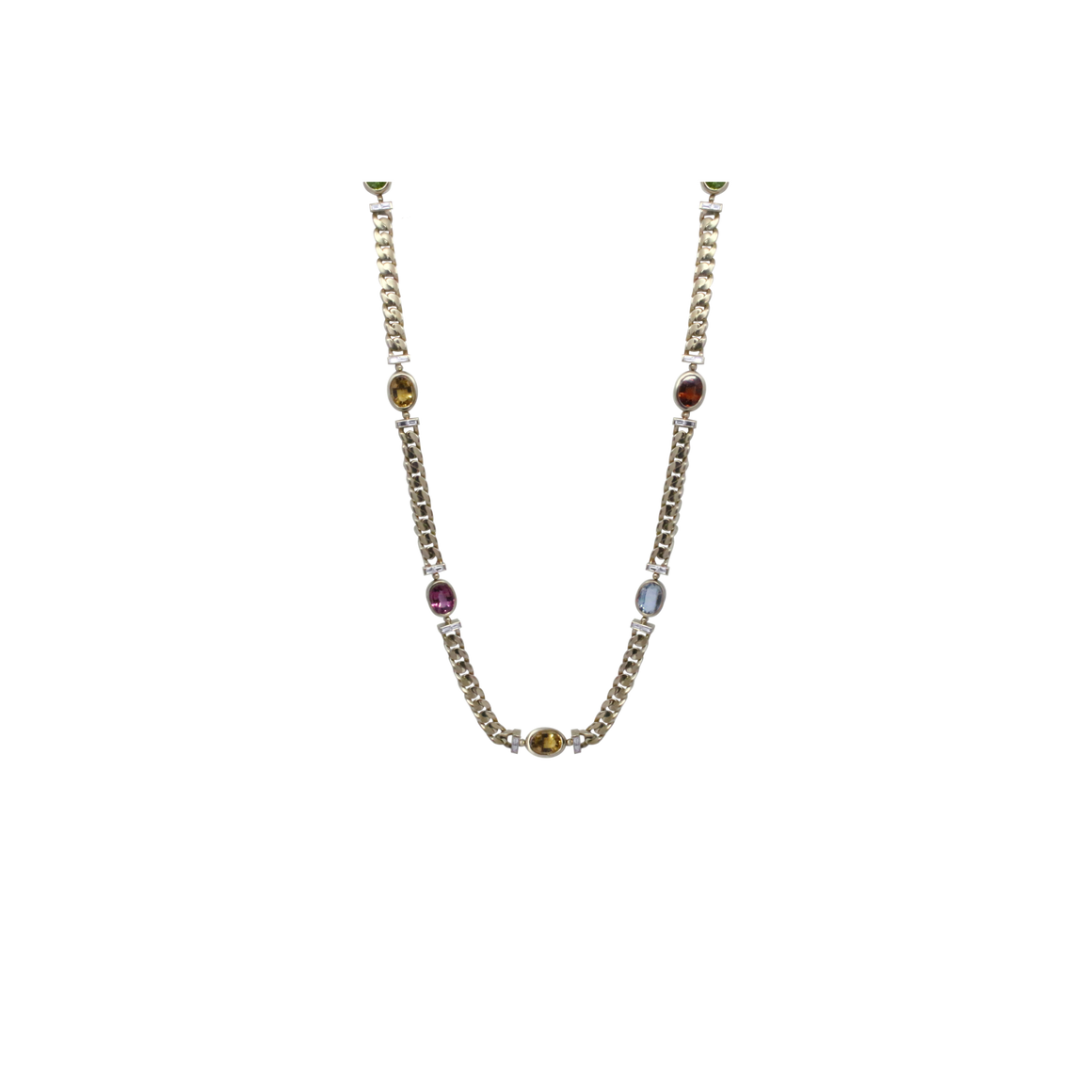 Multicolor Stone Gold Link Necklace-Duncan & Boyd Jewelers-Duncan & Boyd Jewelers