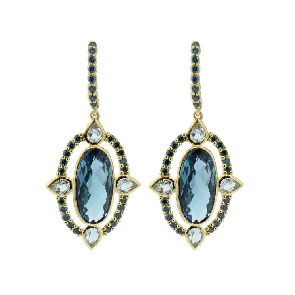 Oval London Blue Earring-Sloane Street-Duncan & Boyd Jewelers