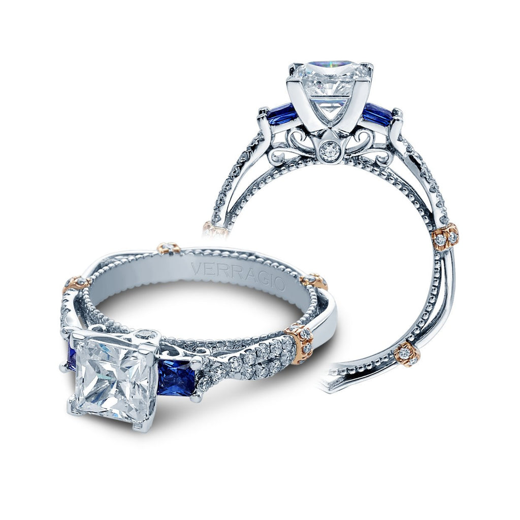 Parisian Sapphire Twisted Engagement Ring-Verragio-Duncan & Boyd Jewelers