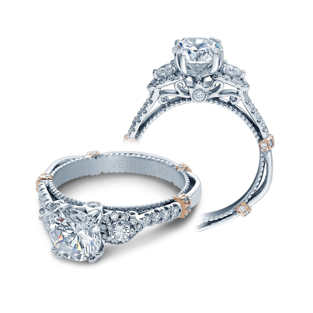 Parisian Three Stone Engagement Ring-Verragio-Duncan & Boyd Jewelers