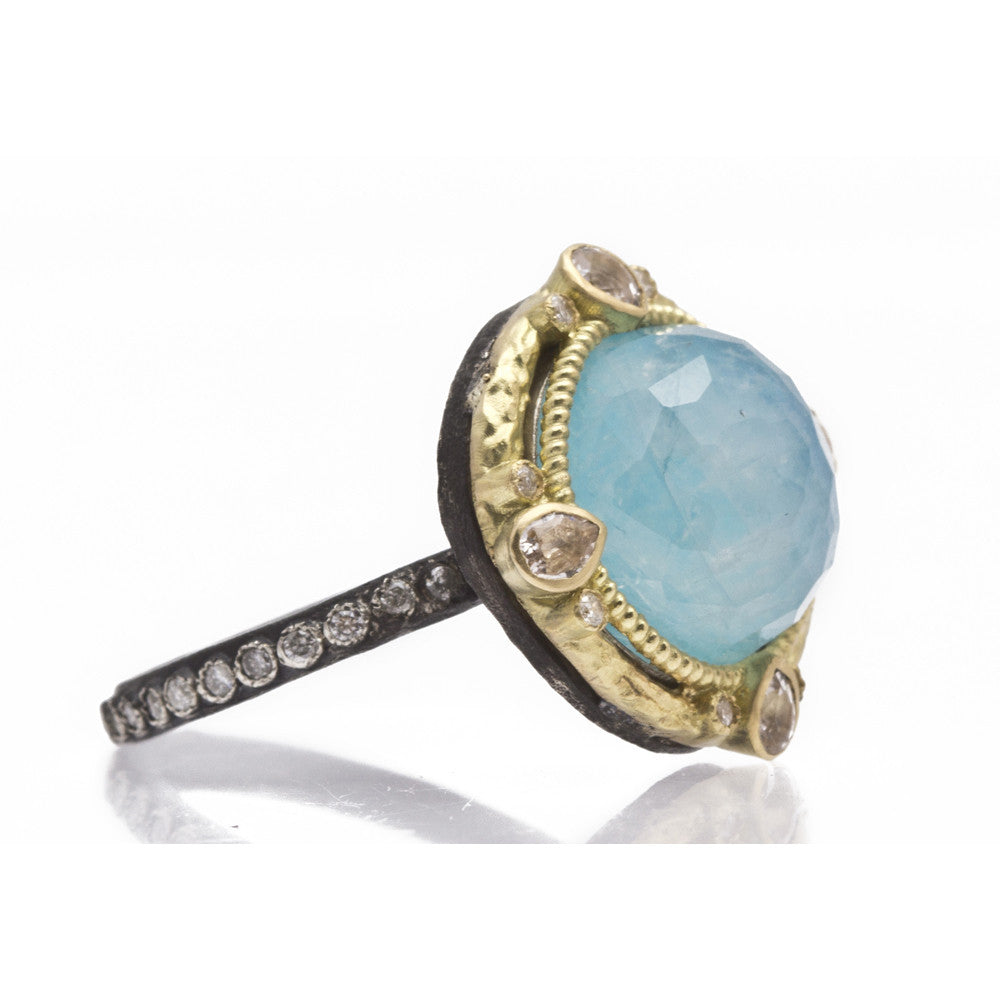 Round Blue Turquoise Doublet and Diamond Ring-Armenta-Duncan & Boyd Jewelers