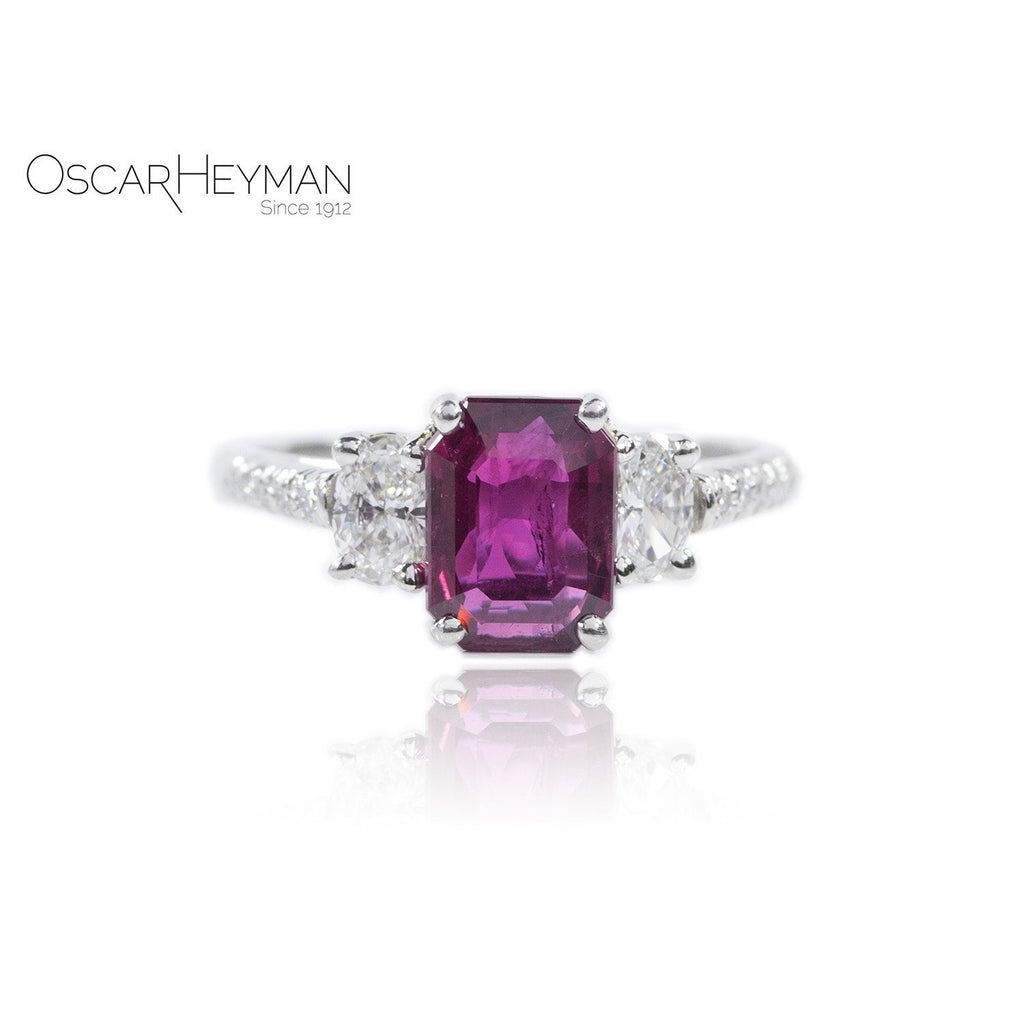 Ruby Three Stone Ring-Oscar Heyman-Duncan & Boyd Jewelers